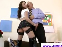aged guy bonks younger fishnet chick