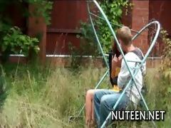 chick caresses rods