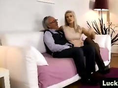 juvenile gal in nylons positions for aged british