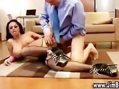 old guy bonks breasty slut
