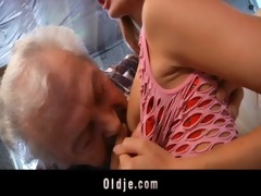 grand-dad fortunate to fuck a hot juvenile