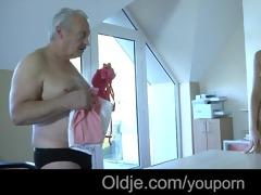 old rich grandpapa fucks his juvenile dummy maid