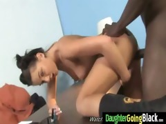 constricted young teen takes large darksome