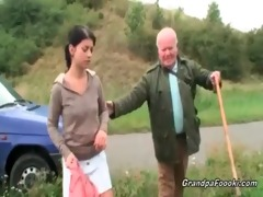 cute playgirl seduces grand-dad on the road