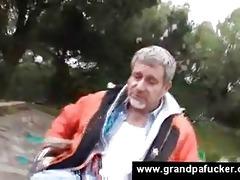teen helps grandpapa with vacuum pump