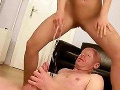 grandad fucking and peeing on youthful gal