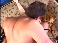 bulky dad bends a slut in latex boots