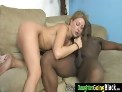 youthful daughter gets pounded by big darksome