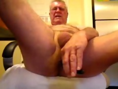kinky oldman solo pecker and booty enjoyment