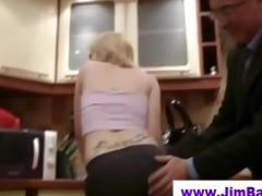 golden-haired does striptease for old chap