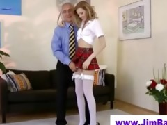 blonde masturbating before old man